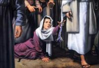 Woman with the issue of blood touching the tassels on Jesus' garment
