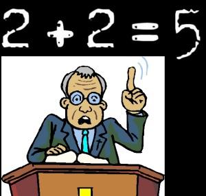 Preacher teaching: 2 + 2 = 5